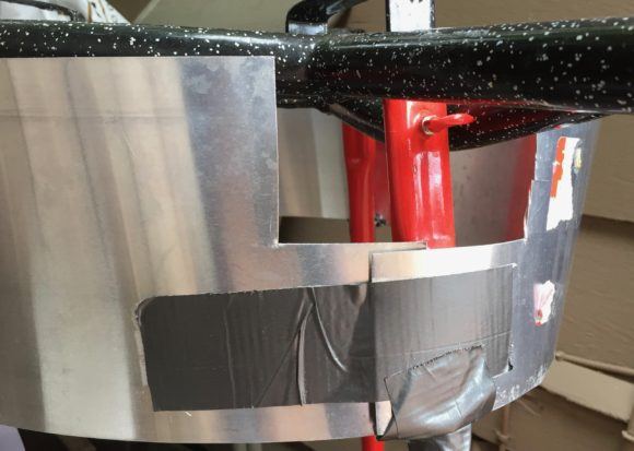 Back of Paella burner with homemade wind shield
